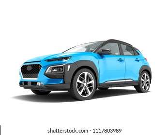 Modern blue car crossover in front 3d render on white background with shadow