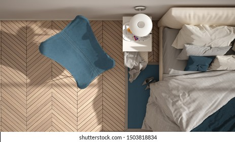 Modern blue colored minimalist bedroom, bed with pillows and blankets, herringbone parquet floor, bedside tables, armchair and carpet. Architecture, interior design concept, top view, 3d illustration