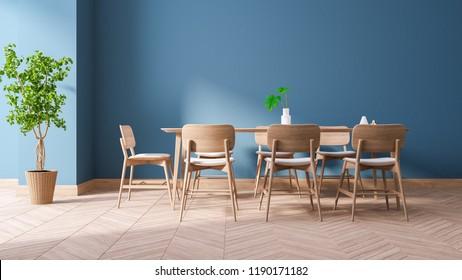 Modern Blue room interior design, wood dining furniture Sets on blue wall and wood floor,3drender