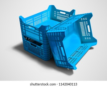Modern blue three plastic boxes empty for storage of goods for sale 3d render on gray background with shadow