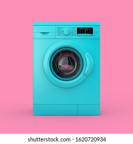 Modern Blue Washing Machine Duotone on a pink background. 3d Rendering