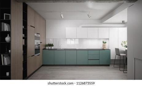 Modern blue and wooden kitchen design - 3 d render