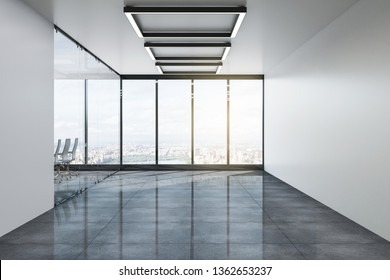 Modern boarding room empty office interior with panoramic city view and furniture. Professional workplace concept. 3D Rendering