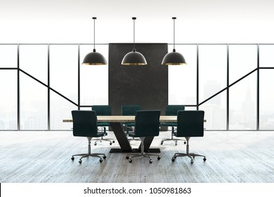 Modern boardroom interior with furniture and city view with daylight. Workplace and style concept. 3D Rendering