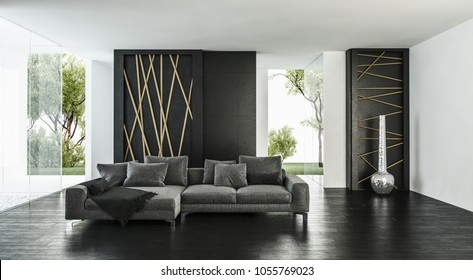 Modern bright airy elegant luxury monochromatic living room interior with grey sofas, black parquet floor and tall windows overlooking a green garden. 3d rendering