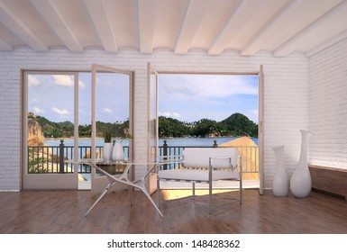 Modern bright apartment interior with nice seascape view