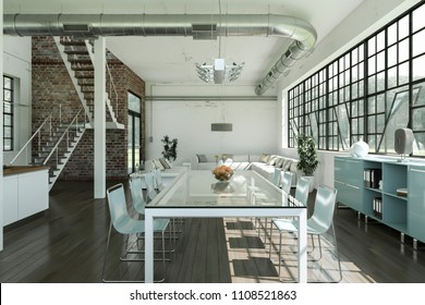 modern bright dining room in loft interior design 3d Illustration