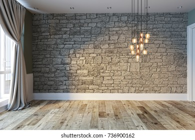 modern bright empty interior design, stone wall and classic curtain. 3D rendering