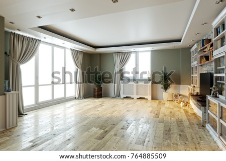 Modern bright empty interior design stone stockillustration