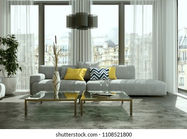 Modern bright flat interior design with sofas 3d Illustration