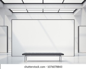Modern bright gallery with white wall and black bench, 3d rendering