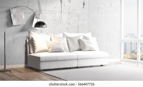 D rendering interior design modern loft stockillustration