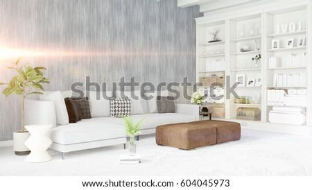 Fußboden Modern Talking ~ Modern bright interior d rendering stockillustration