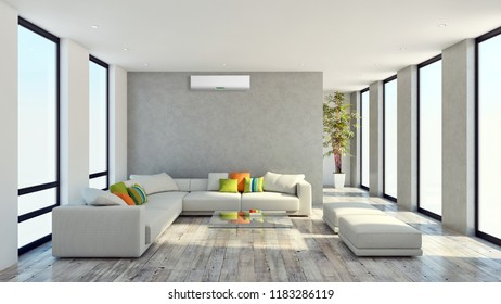 modern bright interiors apartment Living room with air conditioning illustration 3D rendering computer generated image