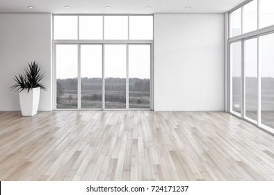 Modern bright interiors empty room. 3D rendering illustration