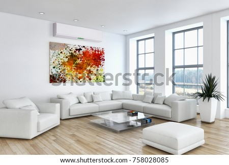 Modern bright living room 60s Modern Bright Living Room With Air Conditioning 3d Rendering Illustration Dreamstimecom Modern Bright Living Room Air Conditioning Stock Illustration