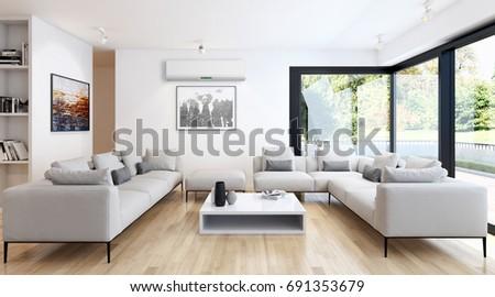Modern bright living room lounge interior stockillustratie