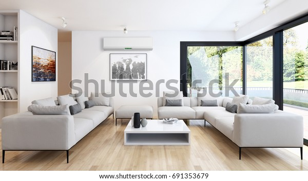 Shutterstock & Modern Bright Living Room Lounge Interior Stock Illustration ...