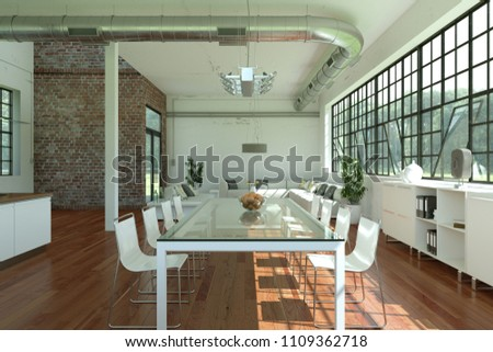 Modern bright loft interior design white stockillustration