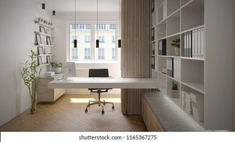 Modern and bright office interior with console desk - 3 d render