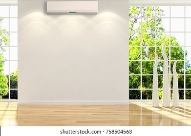 Modern bright room with air conditioning, 3D rendering illustration