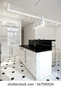 Modern bright white kitchen with white high-gloss facades and black countertop. 3d render.