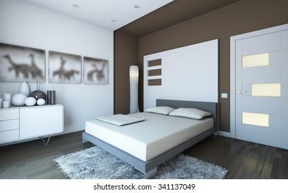 modern brown bedroom 3d Rendering