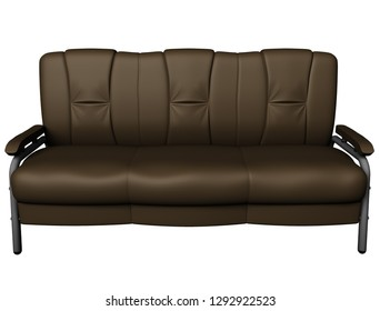 Modern brown suede couch isolated on white background. Front view. Cutout object. 3D illustration