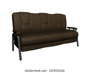 Modern brown suede couch isolated on white background. Side view. Cutout object. 3D illustration