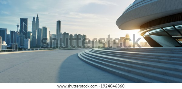 Modern building exterior with cement stairs and floor. Sunrise scene.Photorealistic 3d rendering