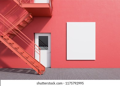 Modern building exterior with red walls, white doors and emergency exit stairs. Concept of plan b and creative thinking. Vertical mock up poster. 3d rendering