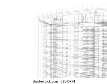Modern building wireframe