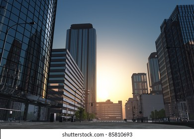 The modern buildings of the city skyscrapers.