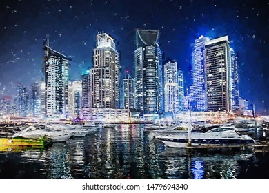 Modern buildings in Dubai Marina at night. Computer graphics - oil painting style