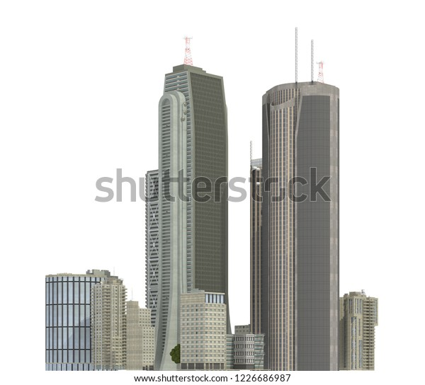 Modern Buildings Isolated On White Background Stock Illustration ...
