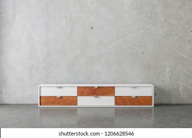 Modern bureau or tv console mockup in empty room with concrete room, 3d rendering