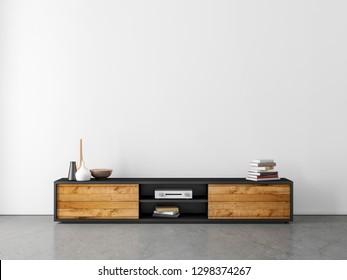 Modern bureau or tv console mockup in empty room with concrete floor, 3d rendering