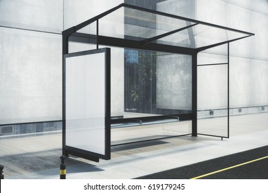 Modern bus stop with blank white poster. Mock up, 3D Rendering