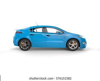Modern business blue electric car - side view - 3D Render