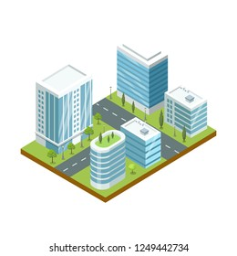 Modern business district 3d isometric icon. Skyscrapers with shiny glass facades, city streets with green decorative plants illustration.