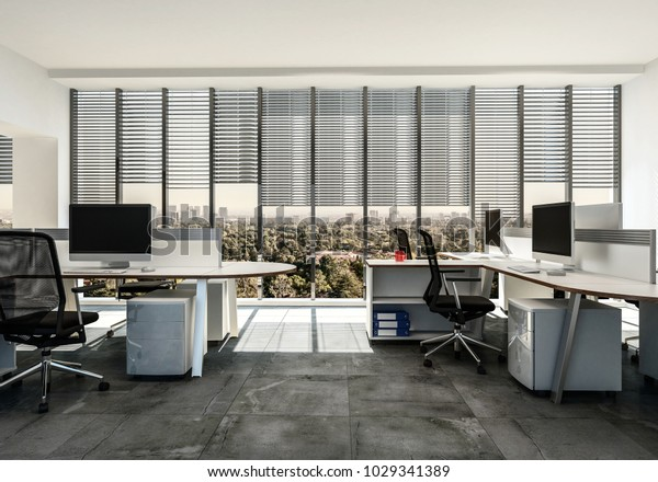 Modern Business Office Multiple Workstations Around Stock Illustration 1029341389