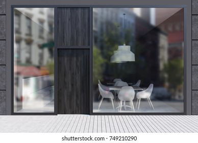 Modern cafe exterior with black walls, a dark wooden door and large windows. It is standing in an empty street with a white stone pavement. 3d rendering mock up