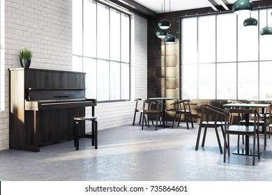 Modern cafe interior corner with wooden walls, a concrete floor, square tables and wooden chairs. A piano. 3d rendering mock up