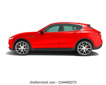 Modern car crossover for business trips side view 3d render on white background with shadow