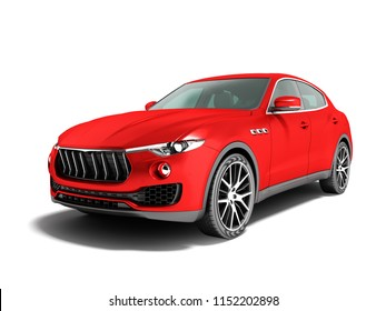 Modern car crossover for business trips 3d render on white background with shadow