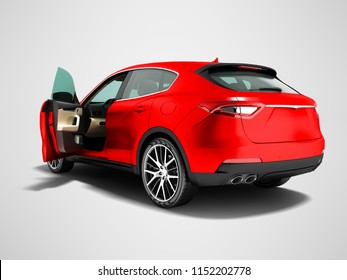 Modern car crossover open for business trips back view 3d render on gray background with shadow
