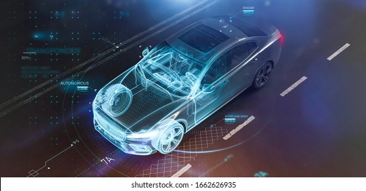 Modern car technology concept with wireframe intersection (3D illustration)