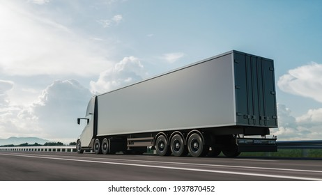 Modern cargo truck at sunset. 3d illustration
