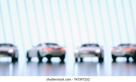 Modern cars background are in the studio room. 3d illustration and 3d render.
