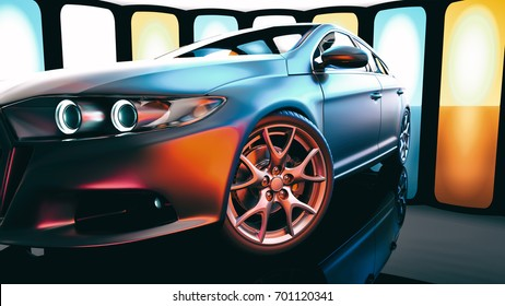 Modern cars are in the showroom. 3d illustration and 3d render.